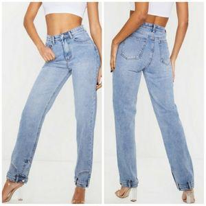 PrettyLittleThing Vintage Wash Detail Cuff Jeans